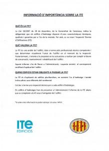 Información importante sobre la ITE 001