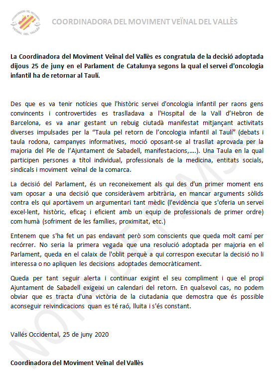 nota prensa resolucion taulí