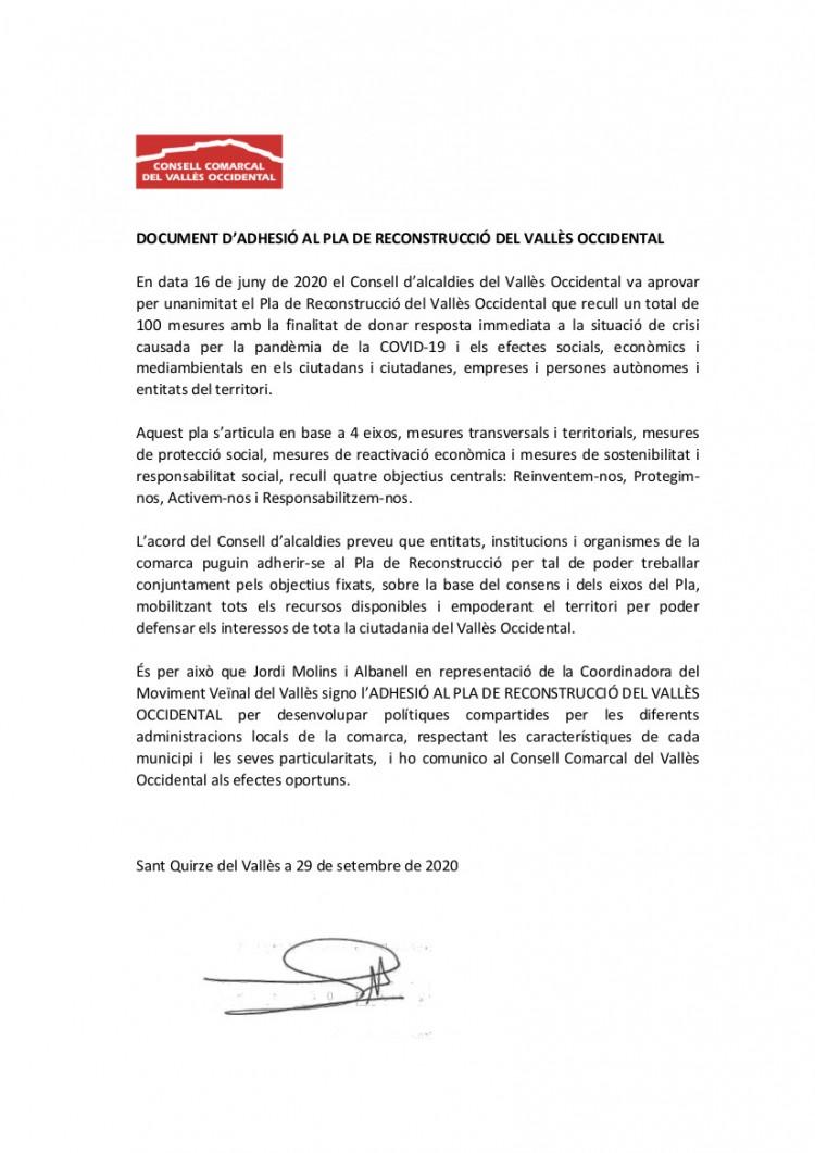 document adhesió Pla de Reconstrucció
